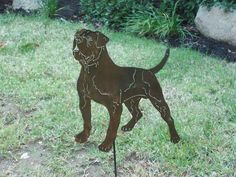 American Bulldog Metal art garden sculpture dog lovers gift / memorial stake on Etsy, $26.95