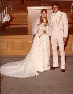 Dennis Douglas Drouillard and Gloria ViAnn Pemberton, 8 Jul 1978 1970s Wedding, Vintage Wedding Photos, Vintage Weddings, Brides And Bridesmaids, Bridesmaid Dresses, Bridal Gowns, Wedding Gowns, Vintage Gowns, Vintage Clothing