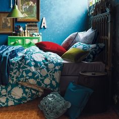 Link to full-size picture: Full size is 800 × 1010 pixels- Moody Blue Bedroom at Bright and Colorful Bedroom Design Ideas Blue Rooms, Blue Bedroom, Bedroom Colors, Bedroom Decor, Blue Walls, Gypsy Bedroom, Bohemian Bedrooms, Pretty Bedroom, Modern Bedroom