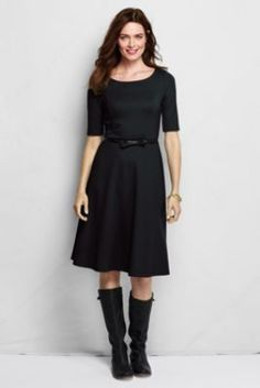 Women s elbow sleeve pont 233 boatneck dress from lands end