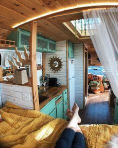 School Bus Rv, Caravan Home, Bus Life, House On Wheels, Camper Van, Tiny House, Vans, Flooring, Instagram
