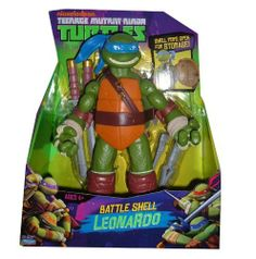 "2012 SDCC Exclusive Teenage Mutant Ninja Turtles Turtles TMNT 11"" Figure Leonardo Nickelodean by Playmates. $34.42. The Turtles are Shelled and Ready!Now carrying their ninja arsenals in their bulletproof battle shells, these oversized turtle teens have got any mutant monster they may meet, already beat. Pop open their protective shells for a weaponized surprise! Swap out and store accessories for their surprise battle attacks!"