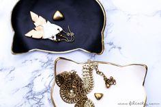 DIY Ringschalen mit Gold-Dekor: Edle Fimo-Schmuckschalen in Katzenform selber machen. Ein schnelles & einfaches DIY für hübsche Deko oder als Geschenkidee!