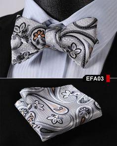 EFA Pailey Floral Men Silk Woven Party Classic Pocket Square Self Bow Tie Handkerchief Set
