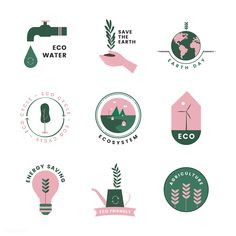 Set of organic and go green icons | free image by rawpixel.com