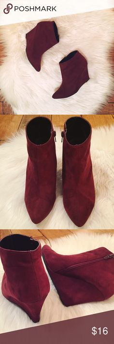 "BURGUNDY BOOTIES Wine-colored wedge booties with pointed toe and inside zipper.    Vegan Suede  Great pre-loved condition  3 1/2"" wedge  Minor wear on bottom of heel. Photo #5 courtesy of Forever 21 and photo #6 provided for style inspiration! Forever 21 Shoes Ankle Boots & Booties"