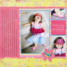 Reinforce a Photo Theme  Design by Candi Gershon  Every princess needs a little glitz! By adding sequin trim, Candi helped reinforced the theme of her photos. Attach trim with a tape runner, wrap ends to the back of your page, and secure with tape.
