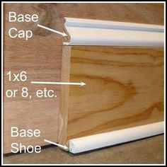 DIY: Chunky Baseboards On A Budget - this is such a clever economical way to get those wide, custom looking baseboards. DIY: Chunky Baseboards On A Budget - this is such a clever economical way to get those wide, custom looking baseboards. Home Improvement Projects, Home Projects, Home Renovation, Home Remodeling, Kitchen Remodeling, Baseboard Styles, Baseboard Ideas, Moldings And Trim, Base Moulding