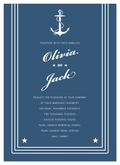 Nautical wedding invitation inspired by the U.S. Navy Service Dress Blue uniform jumper collar, with anchor ©2011 Sarah Curry