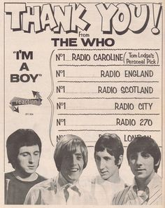 The Who, & a Boy& - 1966 promo ad Radios, I M A Boy, Jazz, John Entwistle, Roger Daltrey, Concert Posters, Great Bands, Music Is Life, Rock Bands