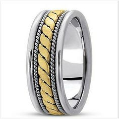 Jewelry Point - Handmade Wedding Band Ring 14k Two Tone Gold Comfort Fit, $599.00 (http://www.jewelrypoint.com/handmade-wedding-band-ring-14k-two-tone-gold-comfort-fit/)