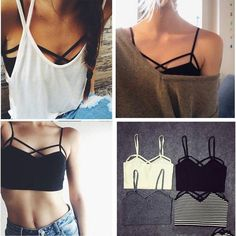 cf775e863e Bralette Crop Top with straps Top Bustier