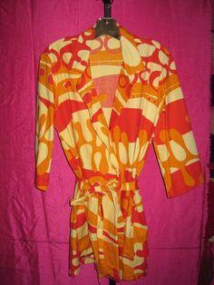 SANDWICH ISLES Vintage Belted MOD Robe Swim Jacket Hawaii TIKI Retro size M/L #SandwichIsles #Casual