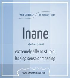 It's what most people are that want others to think they're Insane. Nope they Inane. Interesting English Words, Unusual Words, Weird Words, Cool Words, English Vocabulary Words, English Phrases, Learn English Words, English Language, Words To Use