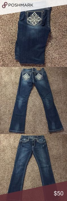 Size 11 LA Idol Jeans Boot cut size 11 LA idol jeans with bedazzled embroidered pockets. Very good condition LA Idol Jeans Boot Cut