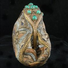 1920's Metallic Embroidery French Clutch Purse *Emerald Glass Jeweled  Frame