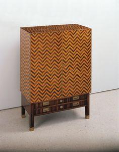 "Koloman Moser (1868-1918), Wiener Werkstätte, ""Zebra Cabinet"", Lemon Wood with Fruit Wood Inlays and Mother of Pearl,1904"