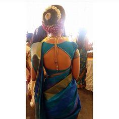 Blue cotton saree blouse