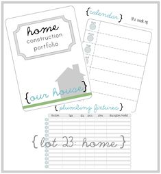 Home Construction Organizer Kit - Create a House Construction Binder with over 70 Printables. $15.00, via Etsy.