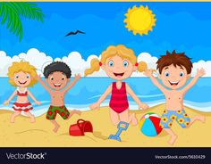Illustration of Cartoon summer day vector art, clipart and stock vectors. Basic Drawing For Kids, Art Drawings For Kids, Art For Kids, Baby Coloring Pages, Summer Coloring Pages, Cartoon People, Cartoon Pics, Summer Season Drawing, Summer Season Images