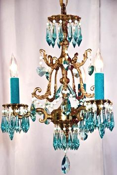 26 Ideas Home Interior Design Warm Light Fixtures Turquoise Chandelier, Brass Chandelier, Chandelier Lighting, Chandelier Crystals, Crystal Chandeliers, Shades Of Turquoise, Bleu Turquoise, Turquoise Glass, Small Space Interior Design