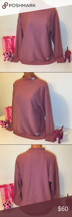 NEW PINK VS STADIUM MOCK NECK SWEATSHIRT PINK VICTORIA'S SECRET  STADIUM MOCK NECK PULLOVER, EMBROIDERED PUPPY ON NECK, LOGO IN THE  BOTTOM. GORGEOUS PIECE!!! 