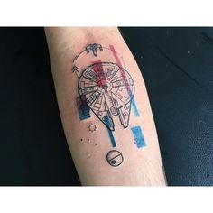 Millenium Falcon #watercolor #watercolortattoo #tattoo #abstracttattoo…