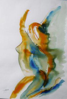 nu féminin tableau peinture contemporaine Joy, encres modèle vivant : Peintures par cyane