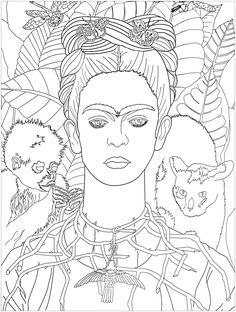 Frida khalo self portrait - Frida Kahlo Colouring Pages, Adult Coloring Pages, Coloring Books, Tag Art, Butterfly Coloring Page, Frida Art, Art Worksheets, Teaching Art, Elementary Art