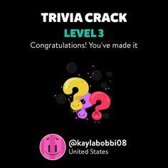 @kaylabobbi08 just leveled up to Lv. 3 on Trivia Crack!
