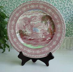 Maling NewcastleonTyne Pink Transferware 11 Inc Charger Plate  by HomecomingDiningRoom