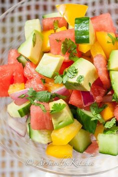 Cucumber Watermelon Summer Salad is a light and refreshing salad combines the great taste of avocados, cucumbers and watermelon in a cilantro tequila avocado oil dressing! Thanks to Art and the Kitchen Cucumber Watermelon Salad, Watermelon Recipes, Avocado Salad, Avocado Dressing, Lime Dressing, Healthy Snacks, Healthy Eating, Healthy Recipes, Summer Salads