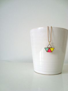 NECKLACE with boat pendant out of triangles in pink by STICKTAILS