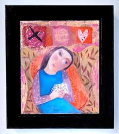 The Letter, original acrylic painting in wooden shadow box frame by SharonMarieWinter on Etsy