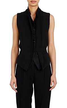 Ann Demeulemeester Mixed-Fabric Belted Vest - Vests - Barneys.com