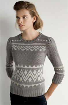 she looks fabulous in this nordic sweater