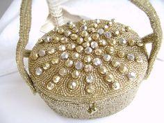 Vintage Walborg Gold Beaded Evening Bag Box by OldAuntsAttic