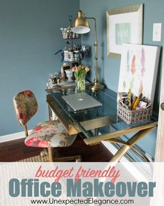 Check out this beautiful budget friendly office makeover! Get a breakdown of the the expenses and ways you can to save money on your office makeover.