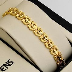 Women Bracelet Hot Yellow Gold Filled Chain Charms Link Fashion Jewelry for sale online Gold Chain Design, Gold Ring Designs, Gold Bangles Design, Gold Earrings Designs, Gold Jewellery Design, Bracelet Designs, Designer Jewellery, Handmade Jewellery, Gold Bracelet Indian