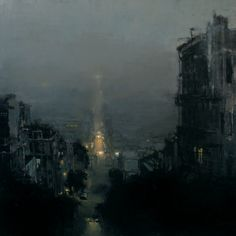 "red-lipstick: "" Jeremy Mann (b. 1979, Cleveland, OH area, resides San Francisco) - A Night Under Fog Paintings: Oil on Canvas """