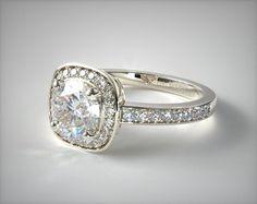 Platinum Cushion Basket Diamond Engagement Ring