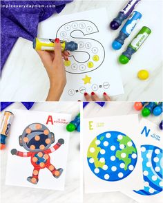 These space themed do a dot printables are a such a simple and fun learning activity for kids! All you need are some dot markers and these worksheets. They're great for preschool, prek and kindergarten children.   #simpleeverydaymom Pre K Activities, Kids Learning Activities, Fun Learning, Do A Dot, Preschool Colors, Sensory Bins, All You Need Is, Rivers, Worksheets