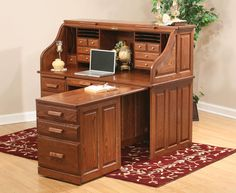 Amish Computer Roll-Top Desk with Pull Out Return