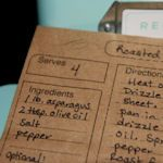 55+ designs you can edit your recipes and print. this picture is using a brown paper bag to print on.