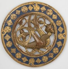 Medallion Date: before 1227 Geography: Made in Limoges, France Culture: French Medium: Copper, champlevé enamel Dimensions: Overall: 3 7/16 x 3/16 in. (8.7 x 0.5 cm) Classification: Enamels-Champlevé