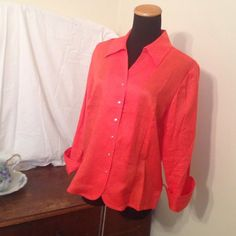 3/4 sleeve shirt/blouse Crisp, bright orange shirt with silver snaps. Perfect for fall! Coldwater Creek Tops Blouses