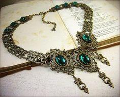 Emerald Necklace, Renaissance Jewelry, Medieval Necklace, Bridal ...