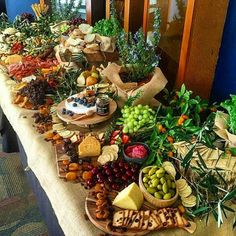 Here's a huge grazing table by to feast your eyes on! Party Platters, Food Platters, Cheese Platters, Food Buffet, Antipasto, Cheese Table, Grazing Tables, Cheese Party, Food Stations