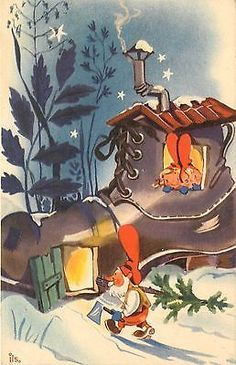 Christmas Gnomes in Sweden | Vintage PC Sweden Gnome Brings Christmas Tree Home to Kids Living in ...