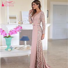 I found some amazing stuff, open it to learn more! Don't wait:https://m.dhgate.com/product/pink-long-sleeve-prom-dress-deep-v-neck-elegant/391907496.html